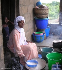 Young mother preparing food